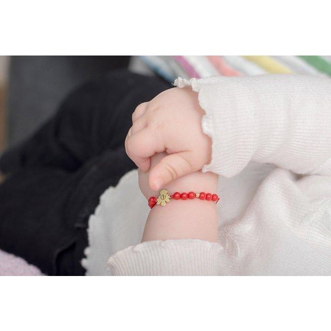 Bratara snur bebe mix bilute ingeras 10 mm personalizat gravura initiala Aur 14K