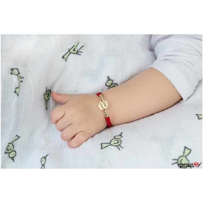Bratara snur impletit, bilute si banut Aur 14K personalizat foto (chipul bebelusului) (10 mm)