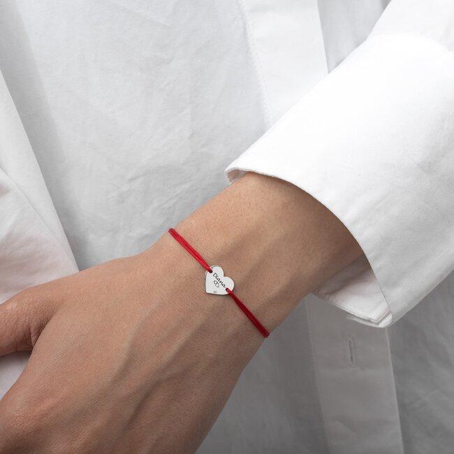 Bratara snur inima 12 mm personalizata gravura text Argint 925 Premium