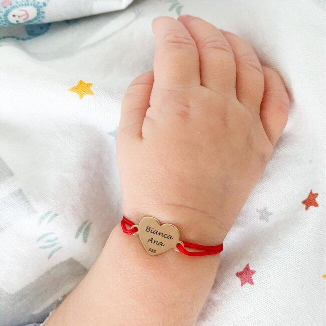Bratara bebelusi aur, snur rosu si inima, personalizata (8 mm)