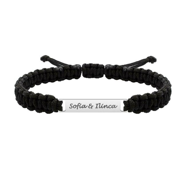 Bratara snur paracord impletit placuta 35 mm personalizata gravura text Aur 14K