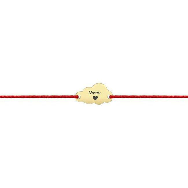 Bratara martisor Aur 14K cu snur pentru fetite si adolescente norisor 10 mm personalizat gravura text