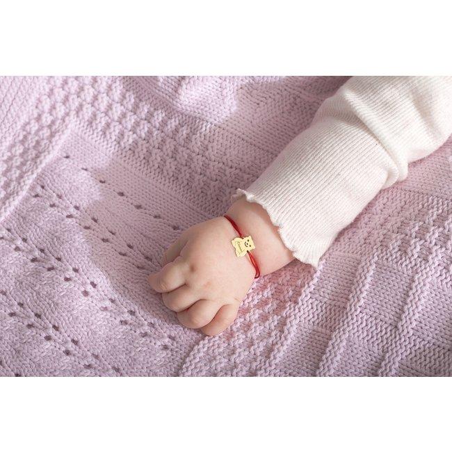 Bratara snur bebe si copil ursulet 10 mm personalizat gravura text Aur 14K