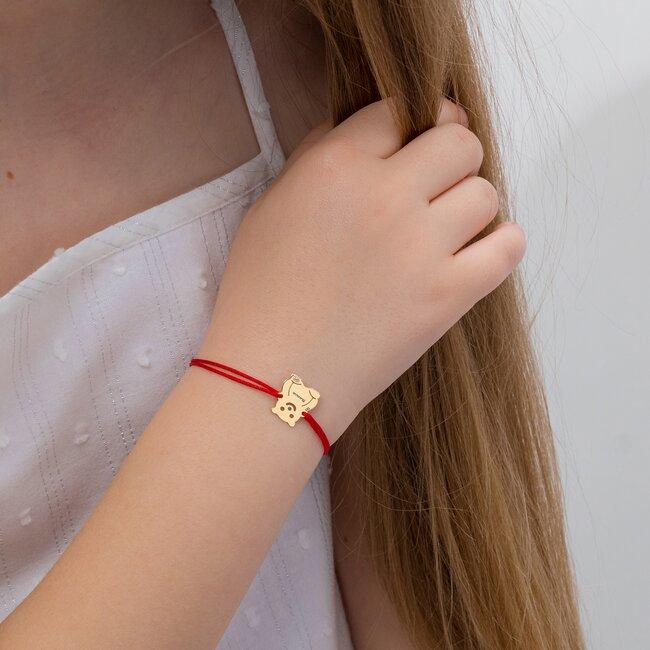 Bratara Aur 14K cu snur pentru fetite si adolescente ursulet 10 mm personalizat gravura text