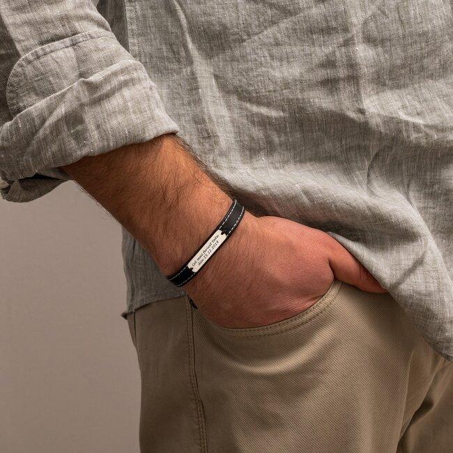 Bratara barbateasca piele lata cusuta placuta 33 mm personalizata gravura text Argint 925 Premium (inchizatoare inox)