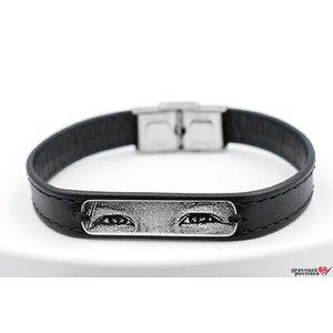 Bratara barbateasca piele lata cusuta placuta 33 mm personalizata gravura privire Argint 925 Premium (inchizatoare inox)