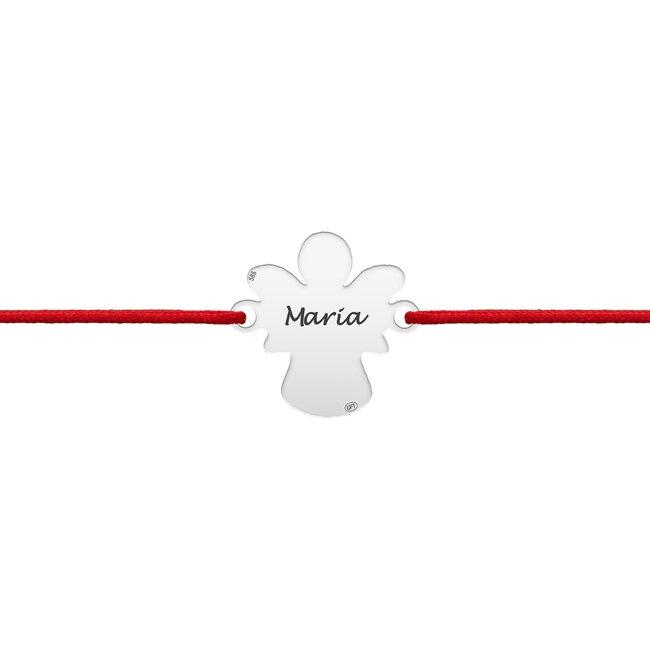 Bratara snur Aur alb, ingeras, personalizata (15 mm)