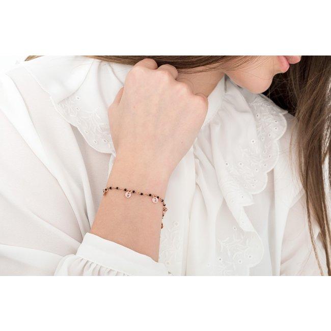 Bratara tip salba banuti 5 mm personalizati gravura initiale Argint 925 rodiat (lantisor tip rozariu)