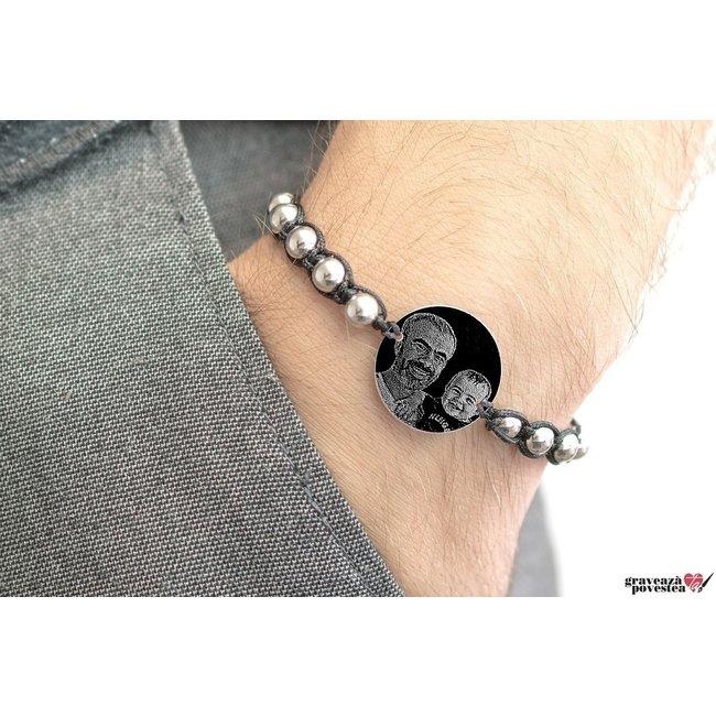 Bratara barbateasca tip Shamballa banut 22 mm personalizat gravura foto Argint 925 rodiat