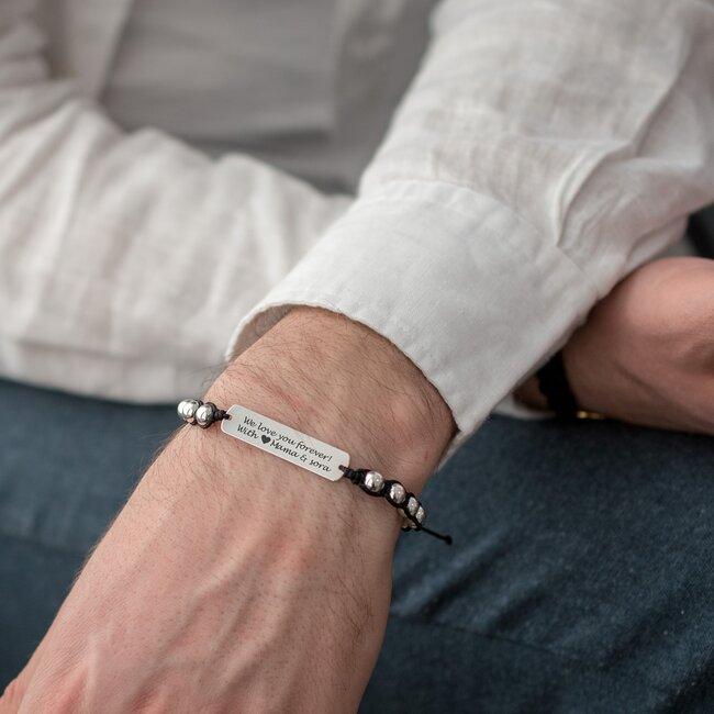 Bratara barbateasca tip Shamballa placuta 33 mm personalizata gravura text Argint 925 Premium
