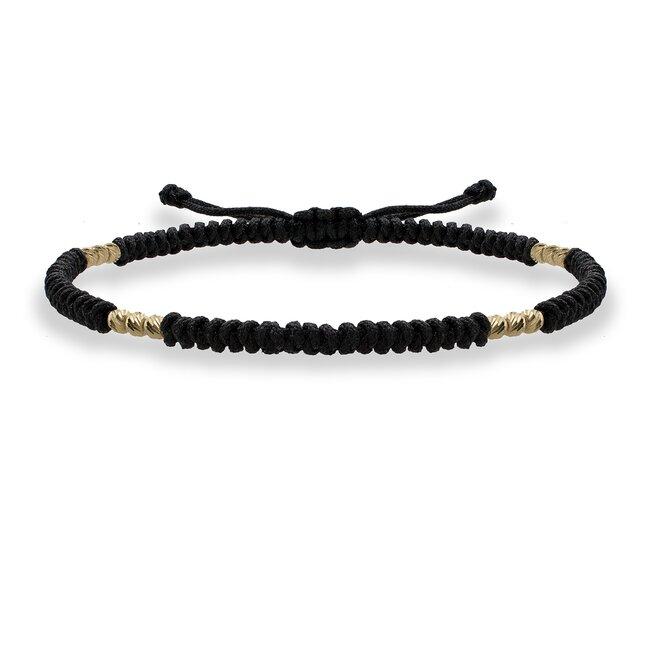 Bratara Aur, bilute si snur negru impletit tubular
