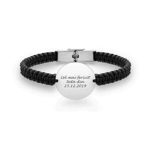 Bratara unisex piele impletita manual banut 19 mm personalizat gravura text Argint 925 Premium (inchizatoare inox clips)
