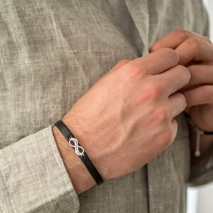 Bratara unisex piele infinit 18 mm personalizat gravura text Argint 925 Premium (inchizatoare inox clips)