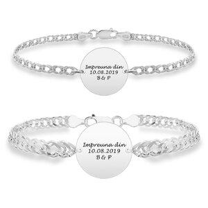 Bratari cuplu argint banuti personalizati cu lant curbed XL & curbed (17 & 19 mm)