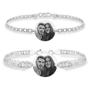 Bratari cuplu argint banuti personalizati foto cu lant Curbed (17 & 19 mm)