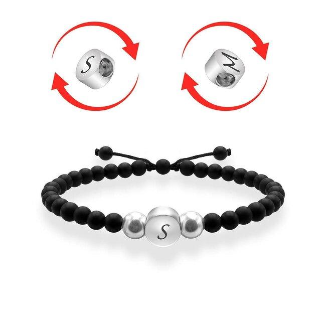 Bratari cuplu argint cercuri rotative personalizate cu onix (7 mm)
