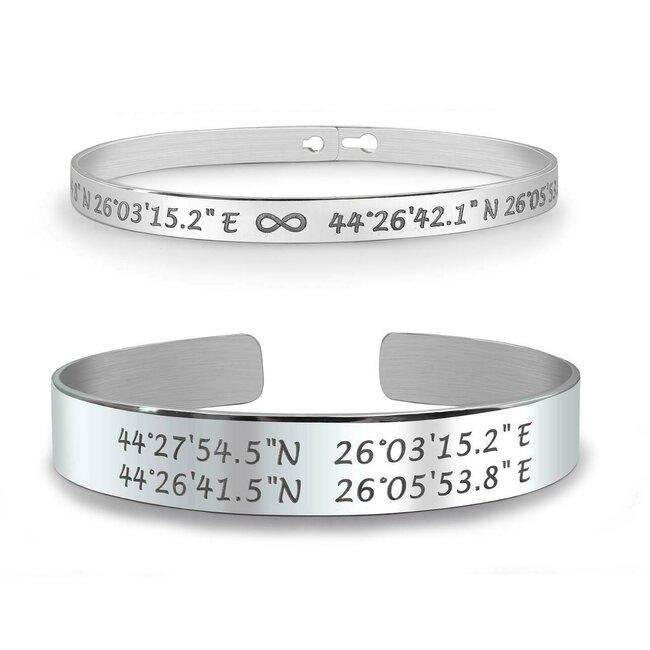 Bratari fixe late cuplu personalizate gravura text Argint 925