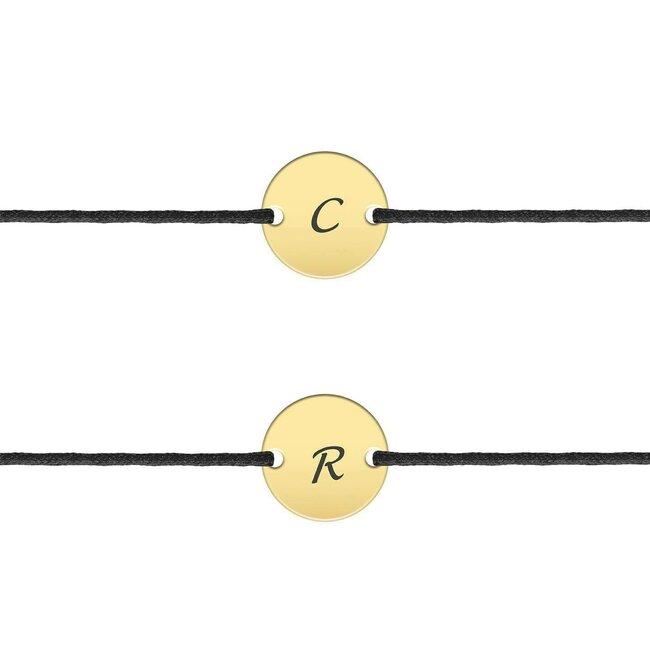 Bratari cuplu argint banuti personalizati initiale cu snur (10 mm)