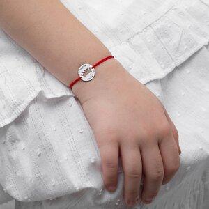 Bratara Aur alb 14K cu snur rosu si banut coroana pentru adolescente (15 mm)