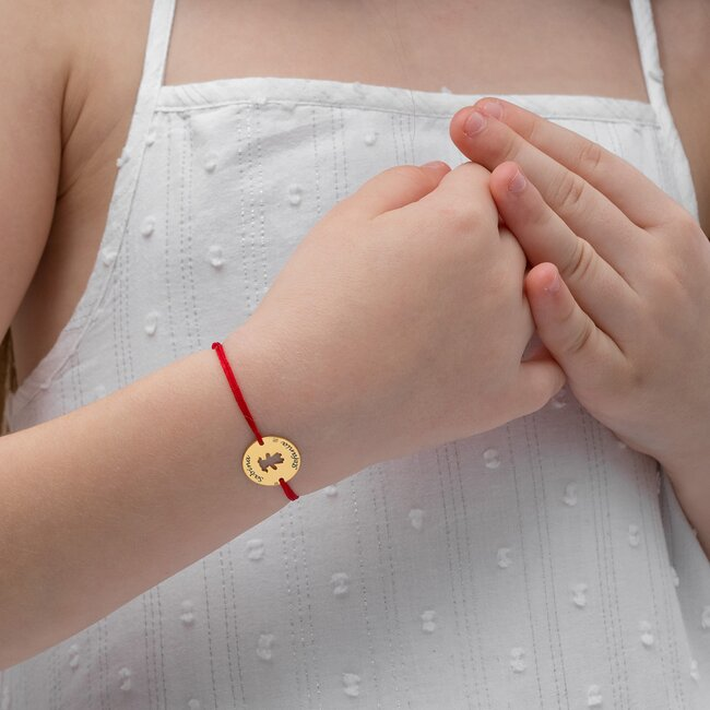 Bratara Aur 14K cu snur pentru fetite si adolescente banut fetita 14 mm personalizat gravura text