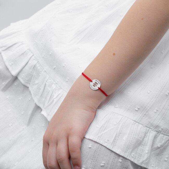 Bratara Aur alb 14K cu snur pentru fetite si adolescente banut fetita 14 mm personalizat gravura text
