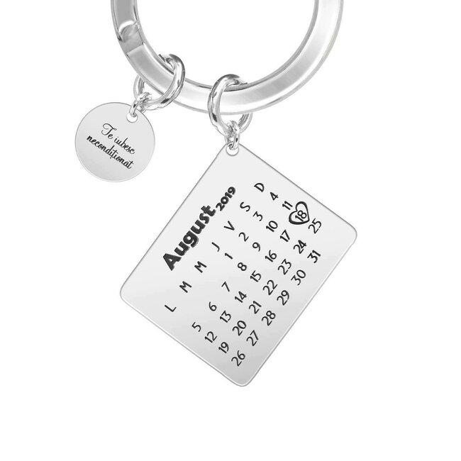 Breloc calendar 25 mm si banut 10 mm personalizat gravura text Argint 925
