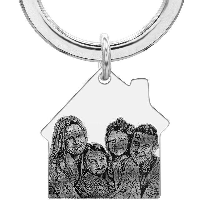 Breloc casa 30 mm personalizata gravura foto Argint 925 rodiat