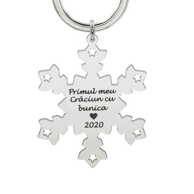 Breloc fulg de nea 47 mm personalizat gravura text Argint 925 rodiat