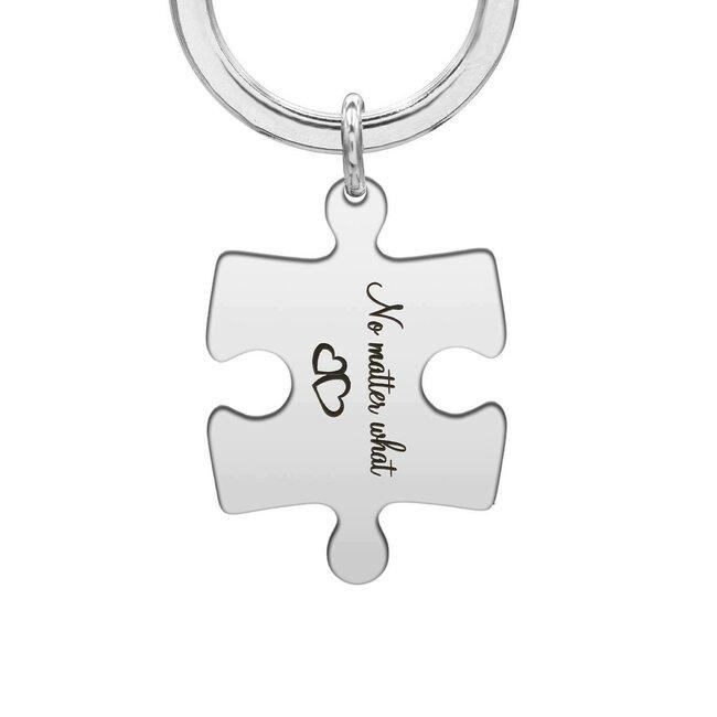 Breloc puzzle 35 mm personalizat gravura text Argint 925 rodiat
