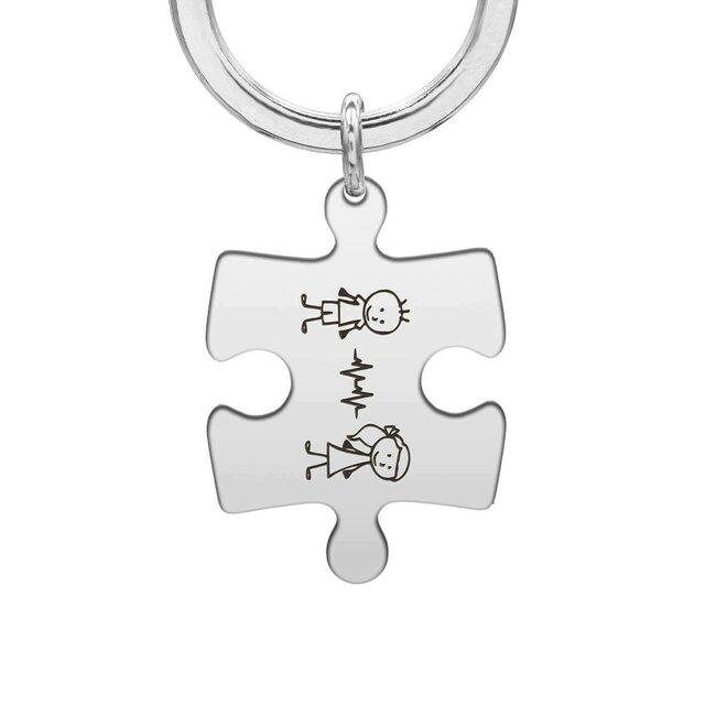 Breloc puzzle 35 mm personalizat gravura text Argint 925 Premium