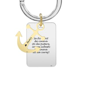Breloc personalizat, ancora placata cu aur si placuta, Argint (24 & 30 mm)