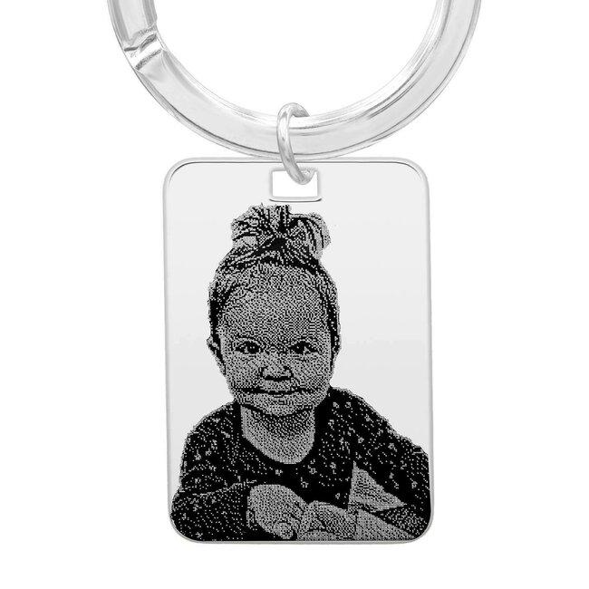 Breloc placuta 30 mm personalizat gravura foto Argint 925 rodiat