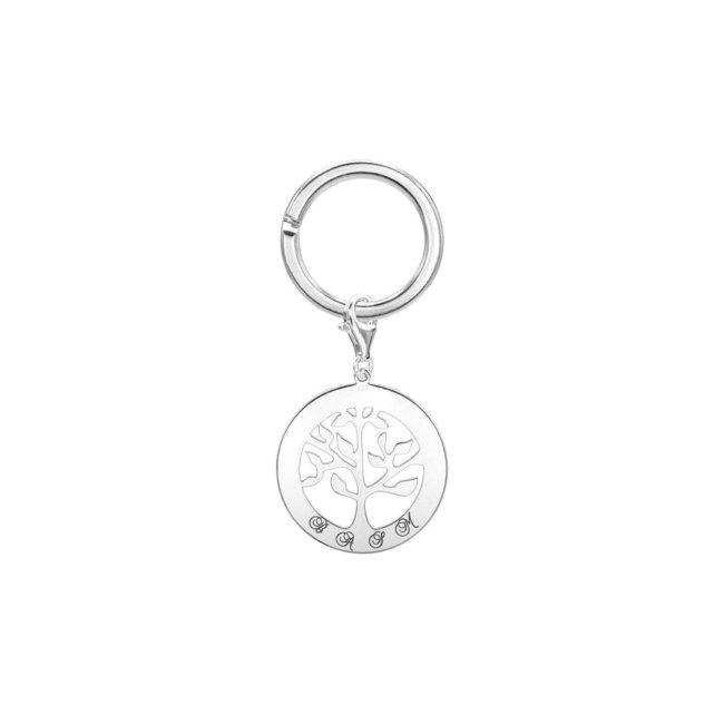 Breloc copacul vietii 28 mm personalizat gravura text Argint 925 rodiat