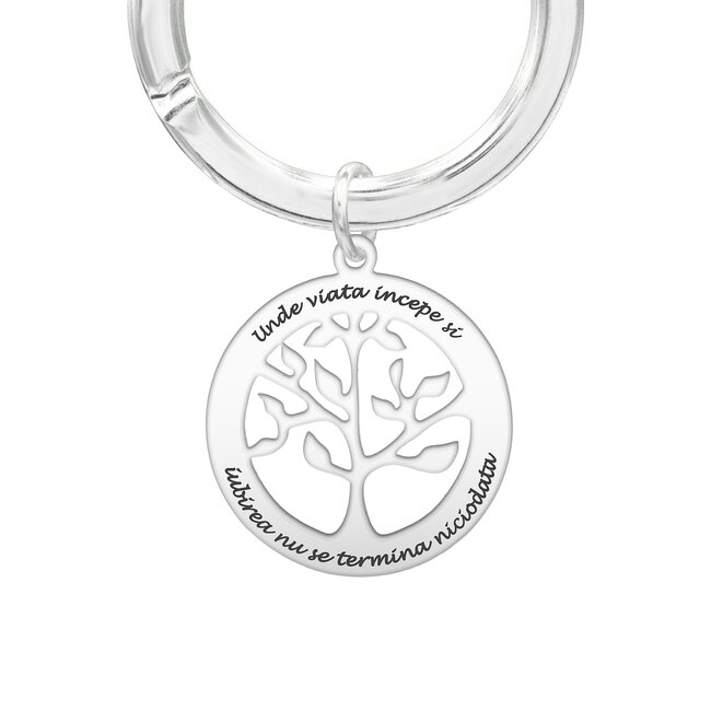Breloc copacul vietii 28 mm personalizat gravura text Argint 925 Premium