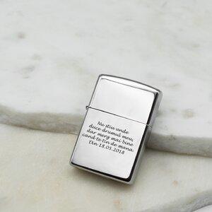 Bricheta Zippo personalizata gravura text argintiu - lucios