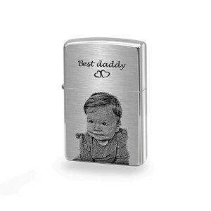 Bricheta Zippo personalizata gravura foto argintiu - mat