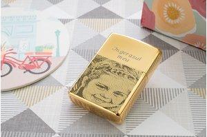 Bricheta Zippo personalizata gravura foto auriu - lucios
