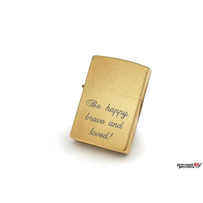 Bricheta Zippo personalizata gravura text auriu - mat