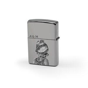 Bricheta Zippo personalizata gravura foto argintiu fumuriu - lucios
