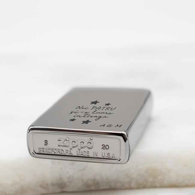 Bricheta Zippo personalizata gravura text argintiu fumuriu - lucios