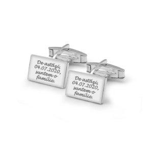 Butoni camasa dreptunghiulari 17 mm personalizati gravura text Argint 925