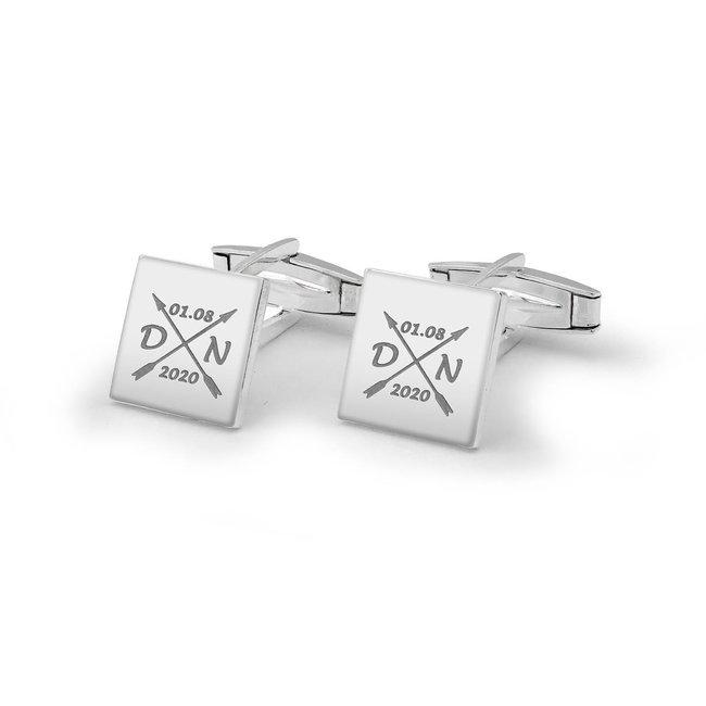 Butoni camasa patrati 12 mm personalizati gravura text Argint 925