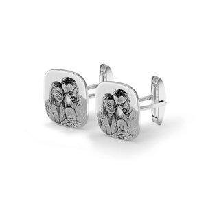 Butoni camasa rotunjiti 20 mm personalizati gravura foto Argint 925