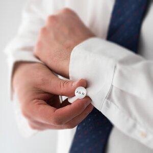 Butoni camasa rotunzi 15 mm personalizati gravura text Argint 925