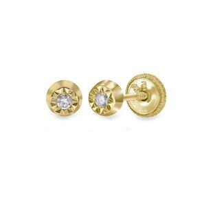 Cercei aur dama cerc cu diamant inchidere sigura cu filet (Aur 14K)