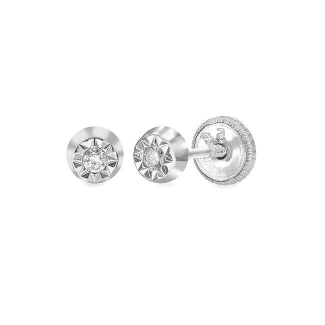 Cercei aur copii PRIMUL MEU DIAMANT cerc cu diamant inchidere sigura cu filet (Aur 14K)