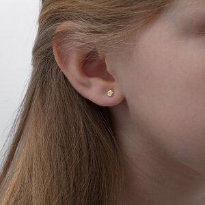 Cercei aur copii PRIMUL MEU DIAMANT mini floricele cu diamant inchidere sigura cu filet (Aur 14K)