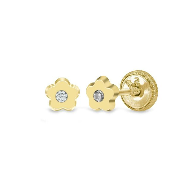 Cercei aur copii mini floricele cu zirconiu inchidere sigura cu filet (Aur 14K)