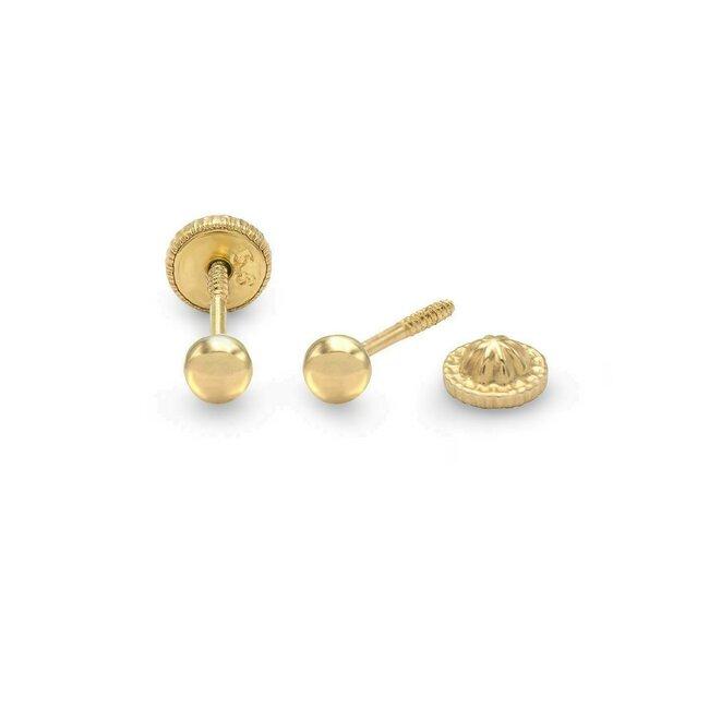 Cercei aur dama bobite inchidere sigura cu filet (Aur 14K)