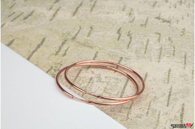 Cercei rotunzi creole mari 55 mm Argint 925 placat cu aur roz 18K